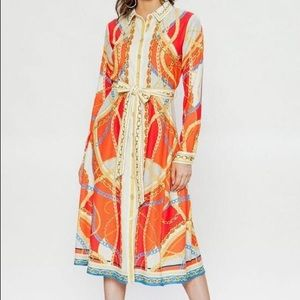 New with tags orange chain print shirt dress